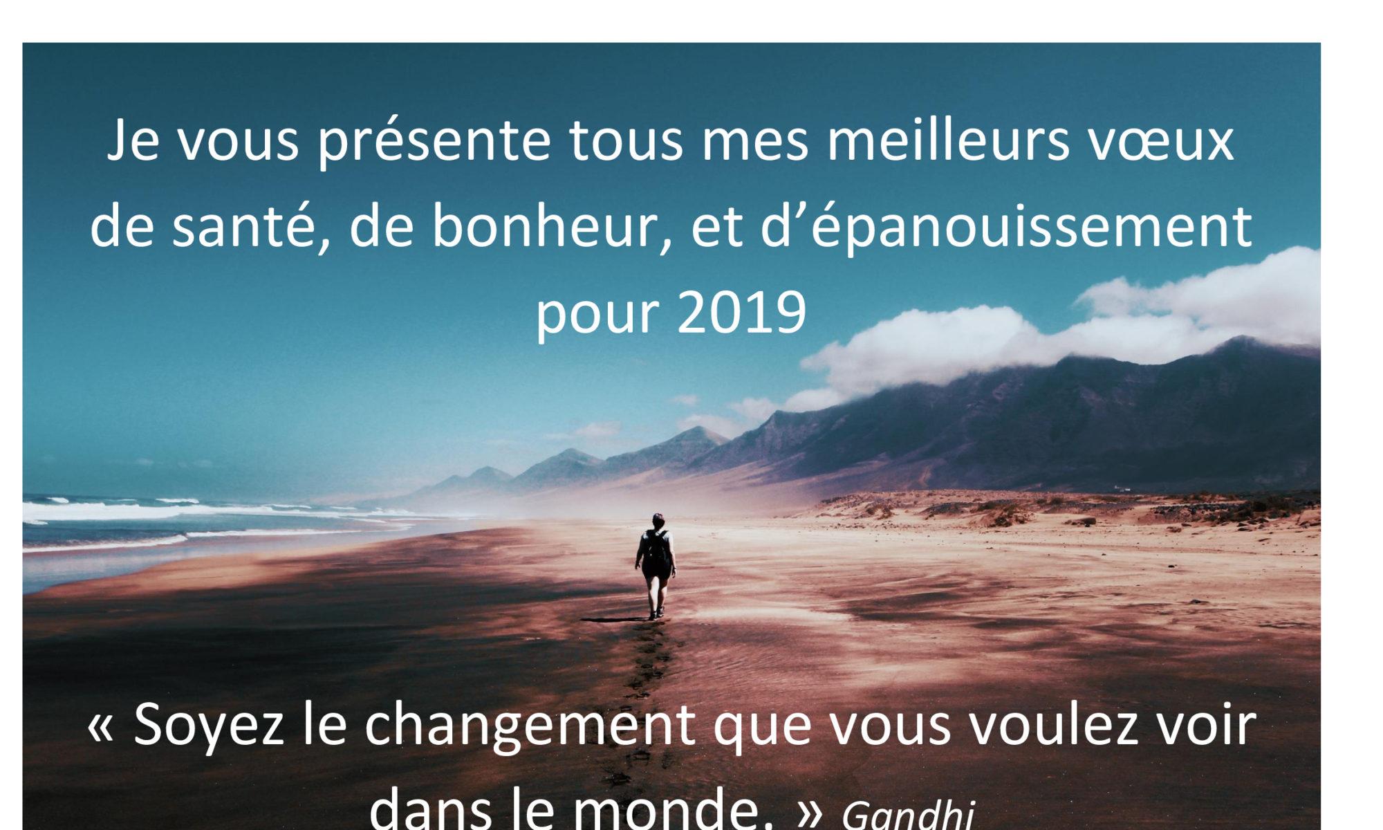 VOEUX 2019, soyez le changement que vous voulez voir dans le monde.
